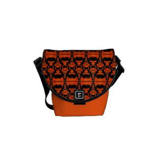 Abstract Pattern Dividers 02 Orange over Black Commuter Bag