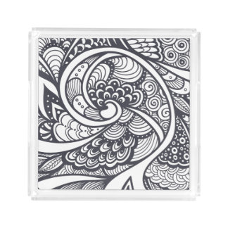 Abstract Pattern In Zen-Doodle Style Acrylic Tray