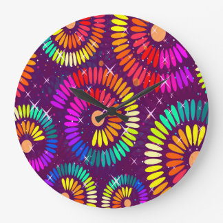 Abstract Pattern Multi Color Sparke Whirls Large Clock