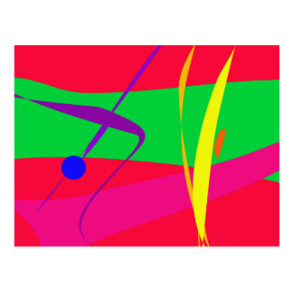 Abstract Pattern Red and Green Contrast Postcards