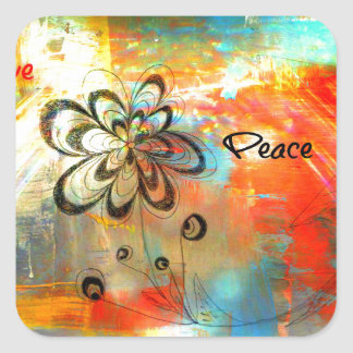 Abstract Peace Square Sticker