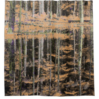 Abstract peach birch tree forest shower curtain