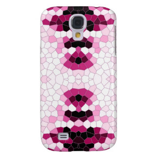 Abstract Pink and White Mosaic Galaxy S4 Case