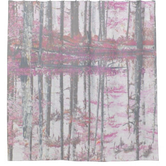 Abstract Pink  birch tree forest shower curtain