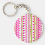 Abstract Pink green pattern + dots flowers hearts Basic Round Button Key Ring