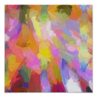 Abstract pink teal orange paint brushstrokes poster