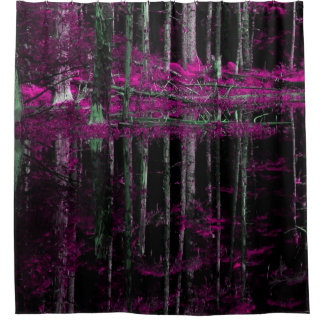 Abstract Purple birch tree forest shower curtain