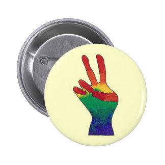 Abstract rainbow peace hand sign custom buttons