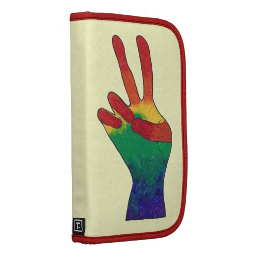 Abstract rainbow peace hand sign folio planner