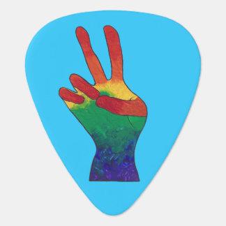 Abstract rainbow peace hand sign guitar picks guitar pick