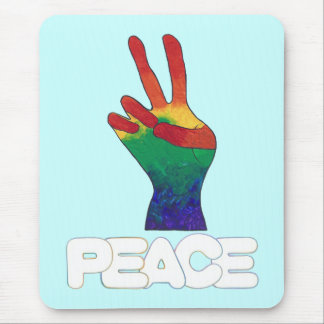 Abstract rainbow peace hand sign mousepads 2