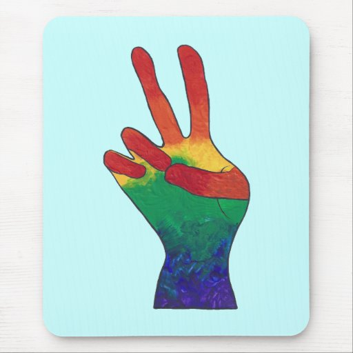 Abstract rainbow peace hand sign mousepads