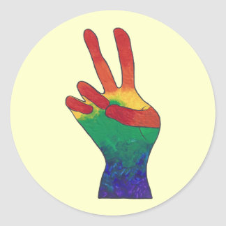 Abstract rainbow peace hand sign stickers