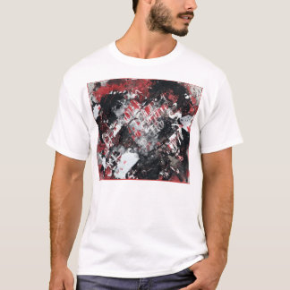 Abstract red and black on basic white T T-Shirt