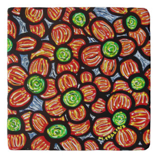 Abstract Red Flowers Colors In Motion Trivet