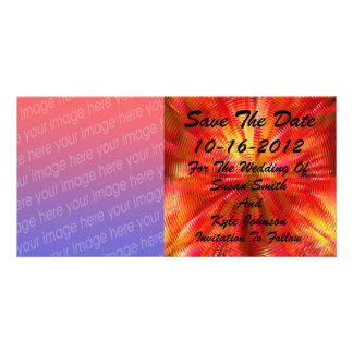 Abstract Red Yellow Photo Wedding Save The Date Customised Photo Card