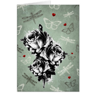 Abstract Roses, Butterflies and Dragonflies Card