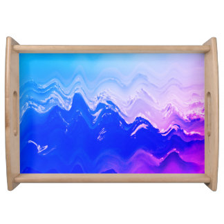 Abstract sea  beach waves blue purple surf tray serving trays