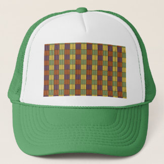 Abstract Square Multicolored Mosaic Pattern Trucker Hat