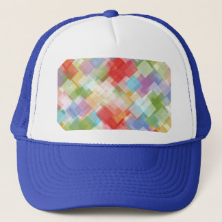 Abstract Square Multicolored Mosaic Trucker Hat
