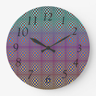 Abstract Squares 3 Large Clock