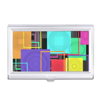 Abstract Squares Business Card Holder