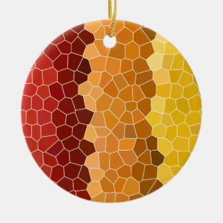 Abstract Stained Glass Autumn Red Orange Yellow Round Ceramic Decoration