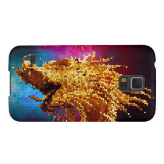 Abstract Stained Glass Golden Dragon Galaxy Mosaic Galaxy S5 Cover