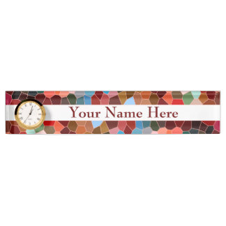 Abstract Stained Glass Red Burgundy Brown Mosaic Nameplate
