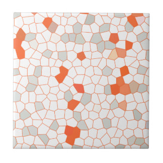 Abstract Stained Glass Silver White Orange Mosaic Small Square Tile