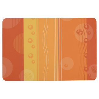 Abstract Stripe Nautical Modern Orange Pattern Floor Mat