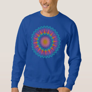 Abstract Sunflower Fractal Pixel Blue Sweatshirt