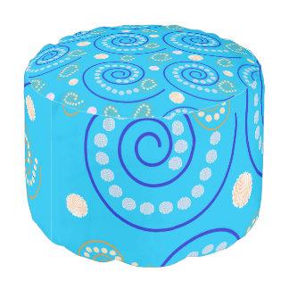 Abstract Swirls on Blue Pouf