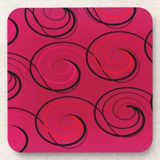 Abstract Swirls on Magenta Coaster