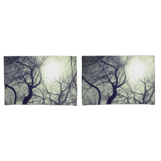 Abstract  tree   black  white sun   pillow cases