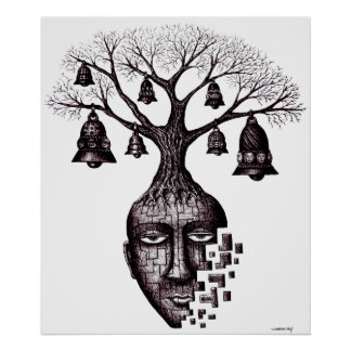 Abstract tree graphic art poster