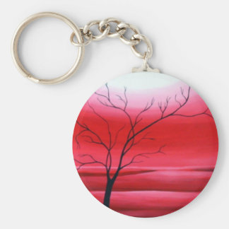 Abstract Tree Red Sky Basic Round Button Key Ring