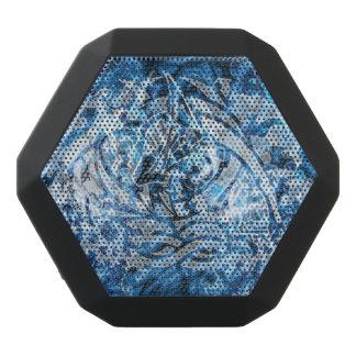 Abstract Tribal Graffiti Digital Art, Blue & White Black Bluetooth Speaker