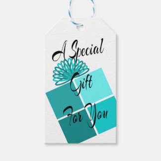 Abstract Turquoise Gift Box Tag Set