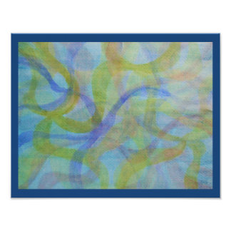 Abstract watercolor in cool colors poster