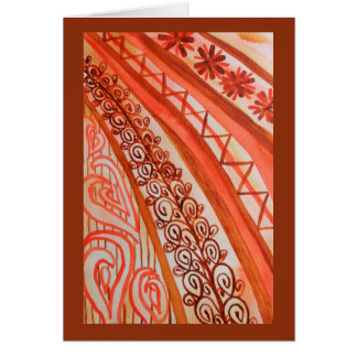 Abstract watercolor orange and brown greeting card