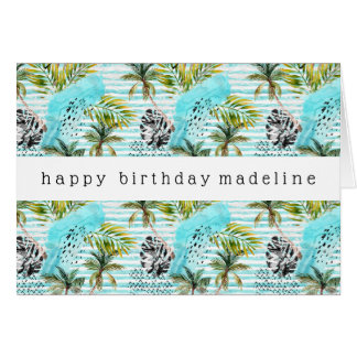 Abstract Watercolor Palm Tree Pattern Card
