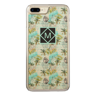 Abstract Watercolor Palm Tree Pattern Carved iPhone 8 Plus/7 Plus Case