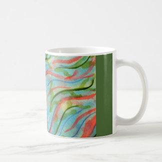 Abstract watercolor seaweed basic white mug