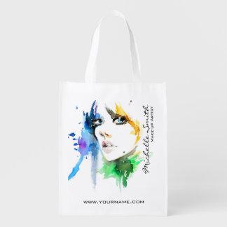 Abstract Watercolor woman makeup artist branding