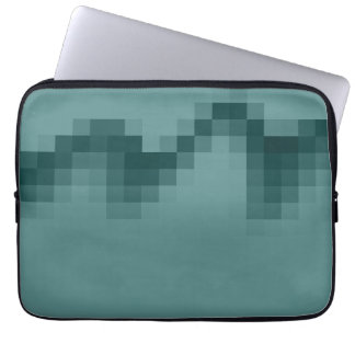 Abstract Wave of Squares Design in Green. Laptop Sleeve