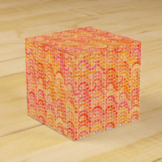 Abstract wave pattern - orange, coral and gold party favor boxes