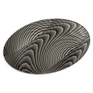 Abstract Waves Patterns Porcelain Plate