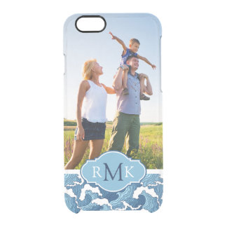 Abstract Waves | Photo & Monogram Clear iPhone 6/6S Case