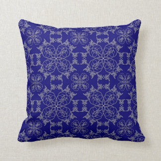Abstract White Embroidery on Prussian Blue Pillow Throw Cushion